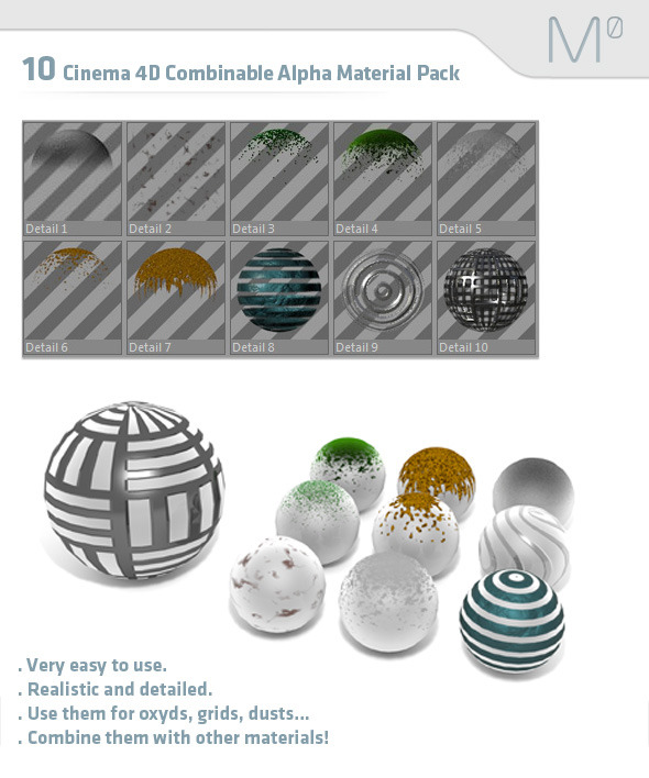 10 Cinema 4D Combinable Alpha Material Pack - 3DOcean Item for Sale