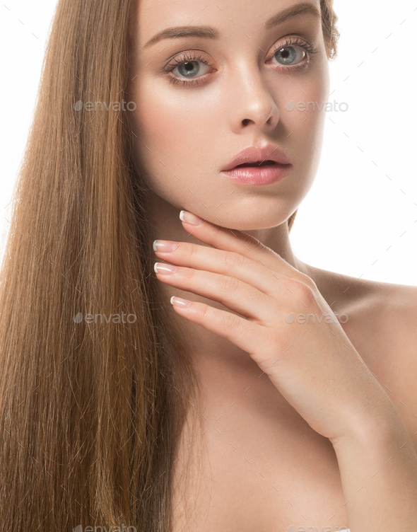 Beauty Girl face Portrait. Beautiful Spa model Woman Perfect Healthy Hair Smooth. - Stock Photo - Images