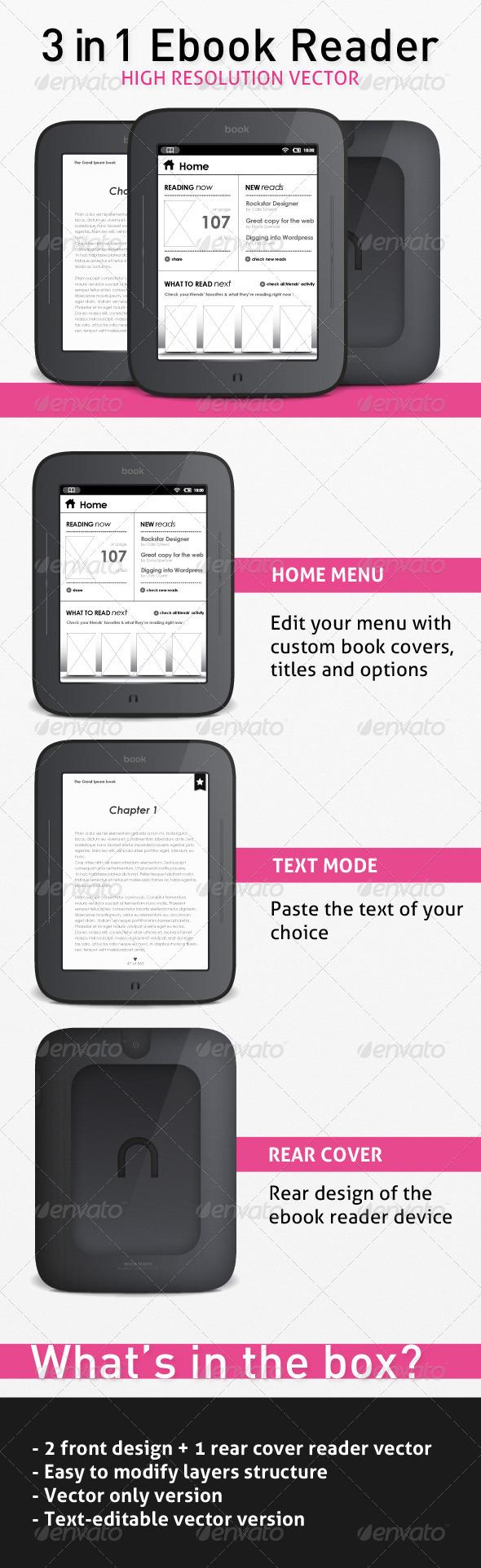 E-Book Reader 3-in-1 Vector - Technology Conceptual
