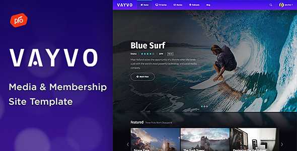Vayvo - Media & Membership Site Template
