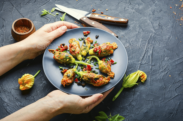 Fried zucchini flowers with filling. - Stock Photo - Images