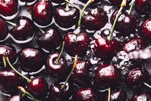 Macro of Fresh cherries - Stock Photo - Images