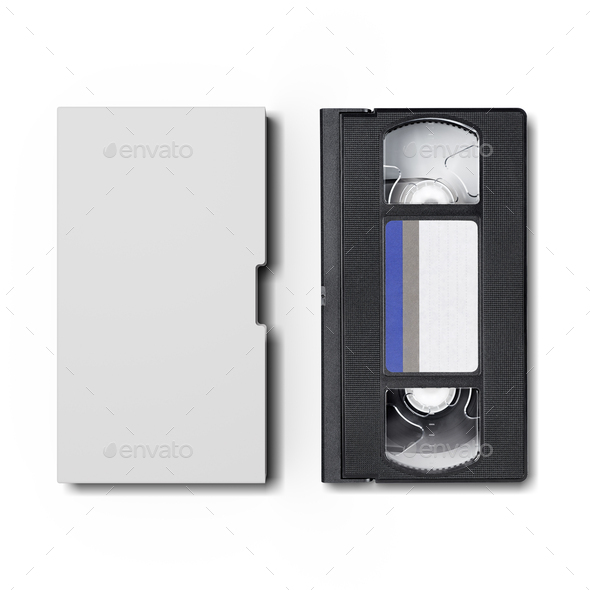 VHS video cassette with blank cover isolated on white. - Stock Photo - Images