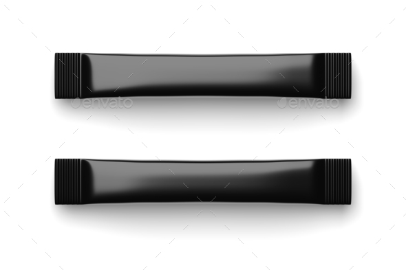 Blank black sugar stick packs isolated on white . 3D rendering. - Stock Photo - Images