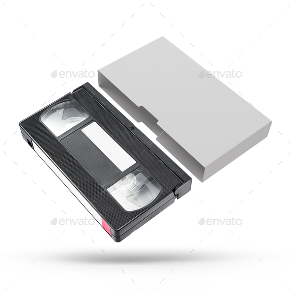 VHS video tape cassette with blank cover isolated on white - Stock Photo - Images