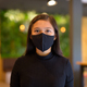 Face of young Asian businesswoman wearing mask and social distancing at the coffee shop - PhotoDune Item for Sale
