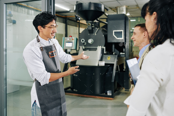 Roasting company owner inviting investors - Stock Photo - Images