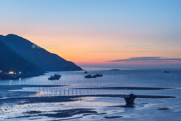xiapu landscape in dawn - Stock Photo - Images