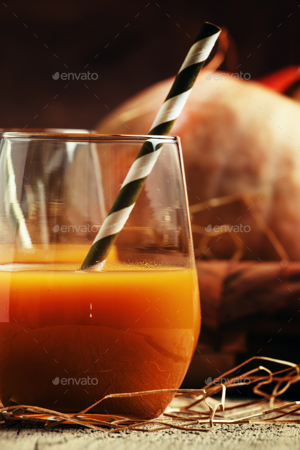 Pumpkin juice in glasses - Stock Photo - Images
