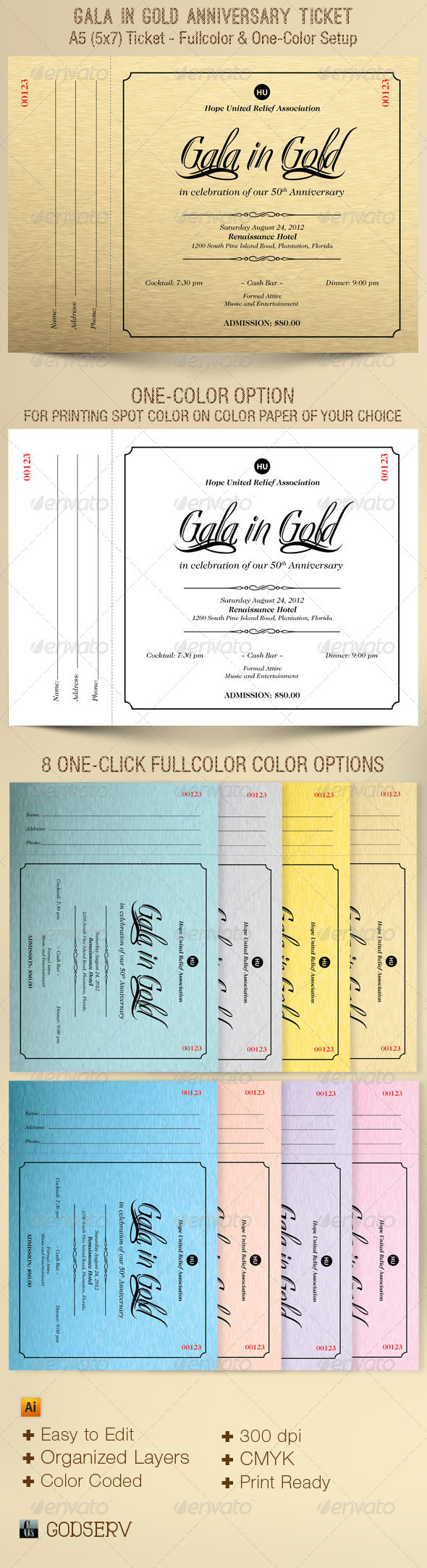 Gold Gala Anniversary Ticket Template - Miscellaneous Print Templates