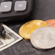 Bitcoins, calculator, dollar and miniature excavator, mining cryptocurrency concept - PhotoDune Item for Sale