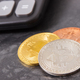 Bitcoin coins with calculator as symbol of cryptocurrency and international network payment - PhotoDune Item for Sale