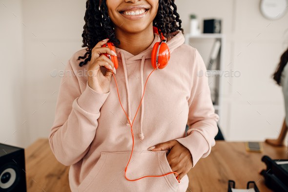 Female person with headphones, music relaxation - Stock Photo - Images