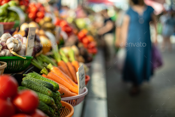Fresh vegetables at a farmers market indoors - Stock Photo - Images