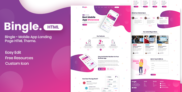 Bingle - Mobile App Landing Page HTML Theme