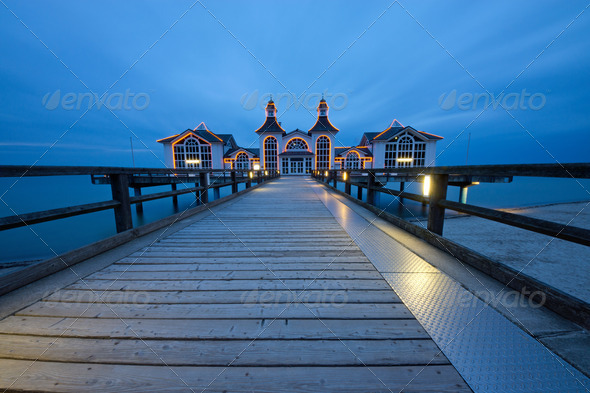 Pier of Sellin on a cloudy evening - Stock Photo - Images