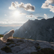 Dog watching the sunrise in the mountains of Julian Alps - PhotoDune Item for Sale