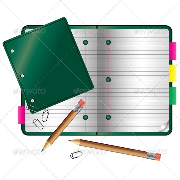 Notebook with clips and pencils on white - Backgrounds Business