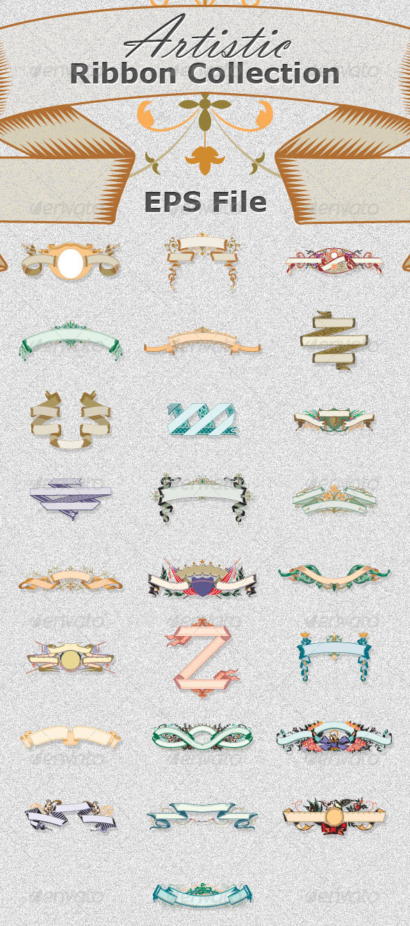 25 Artistic Ribbons Collection  - Decorative Symbols Decorative