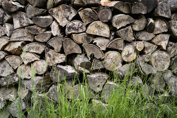 A neatly stacked pile of logs, a firewood log store. - Stock Photo - Images