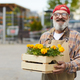 Senior Man Holding Box of Flowers - PhotoDune Item for Sale