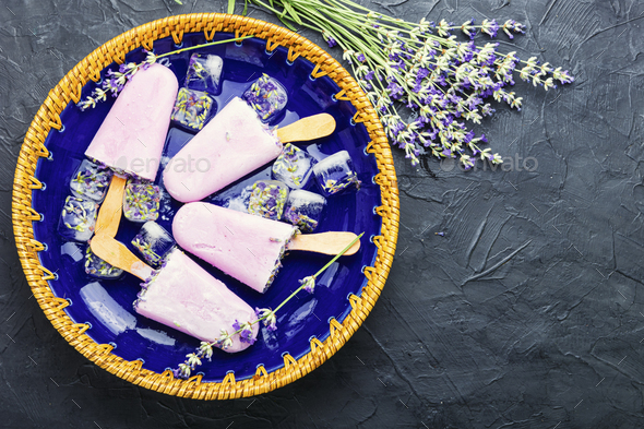 Lavender ice cream - Stock Photo - Images