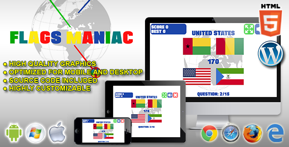 Flags Maniac - HTML5 Quiz Game