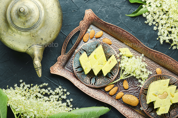 Oriental halva with nuts - Stock Photo - Images