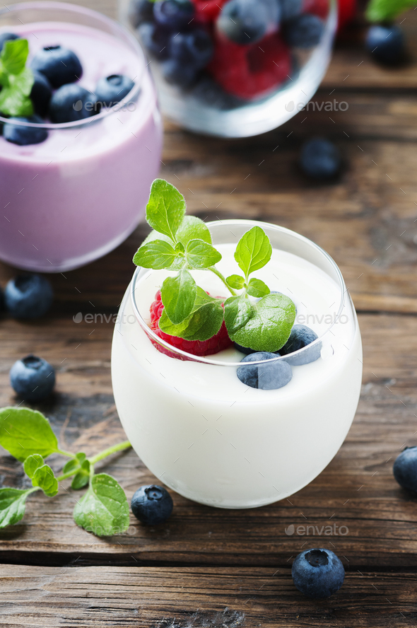 Healthy yogurt with berry and mint - Stock Photo - Images