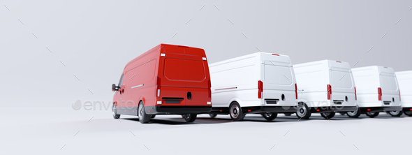 Red commercial van and fleet of white trucks. Transport. Transport and shipping - Stock Photo - Images