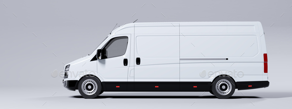 Commercial van truck on white background. Transport and shipping - Stock Photo - Images