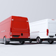 Red commercial van and fleet of white trucks. Transport. Transport and shipping - PhotoDune Item for Sale