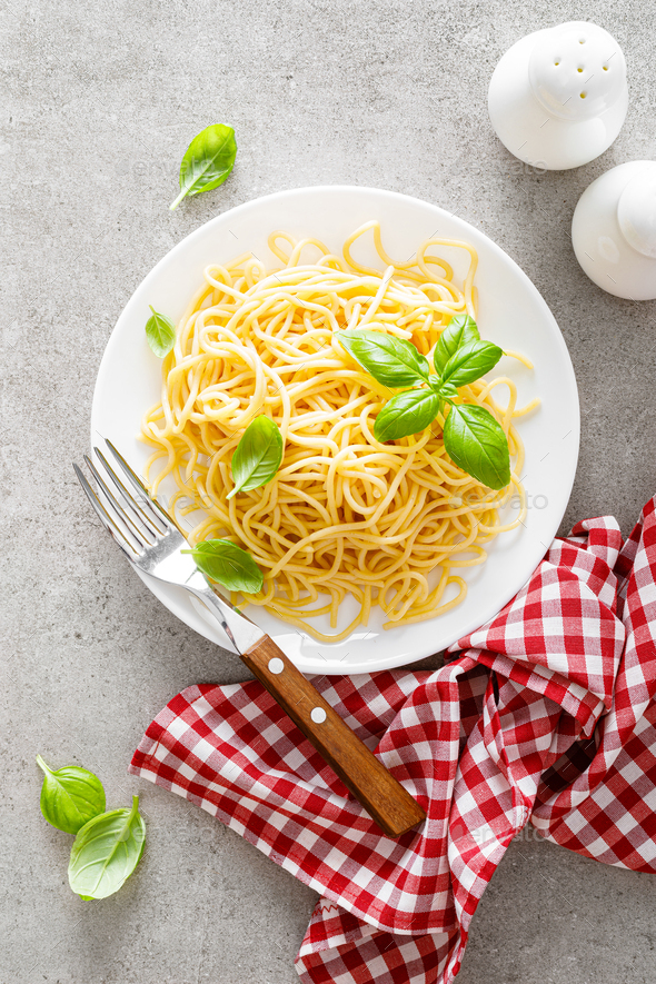 Pasta. Traditional italian food. Vermicelli with fresh basil - Stock Photo - Images