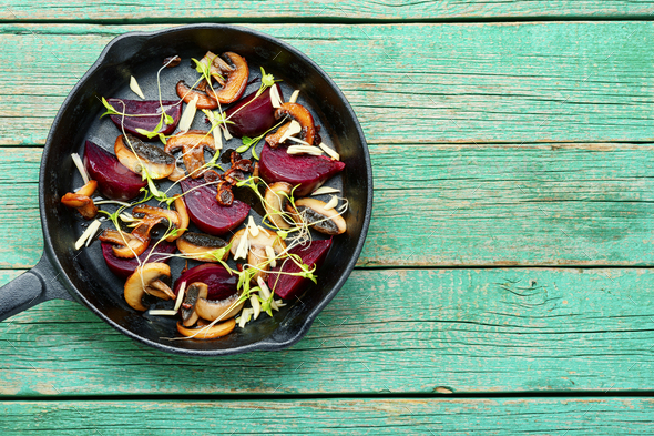 Grilled salad with beets and mushrooms - Stock Photo - Images