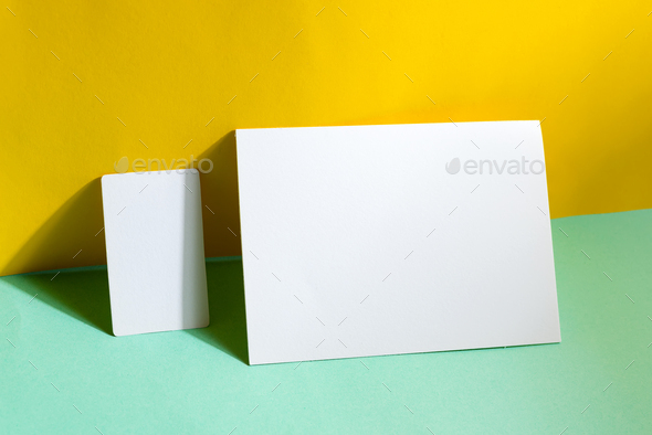 Blank stationery set business cards and brochure on duotone background with shadows - Stock Photo - Images