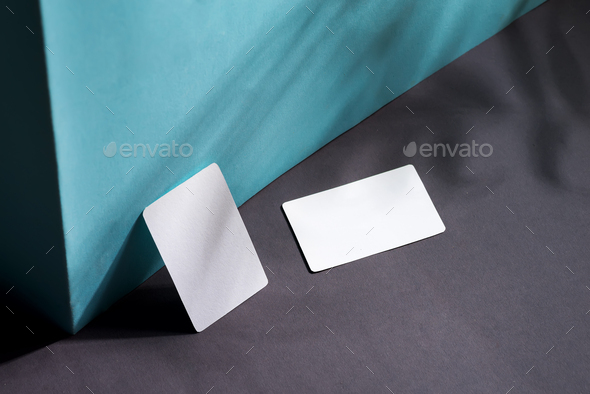 blank business cards on duotone background with shadows, good for texte and logo - Stock Photo - Images