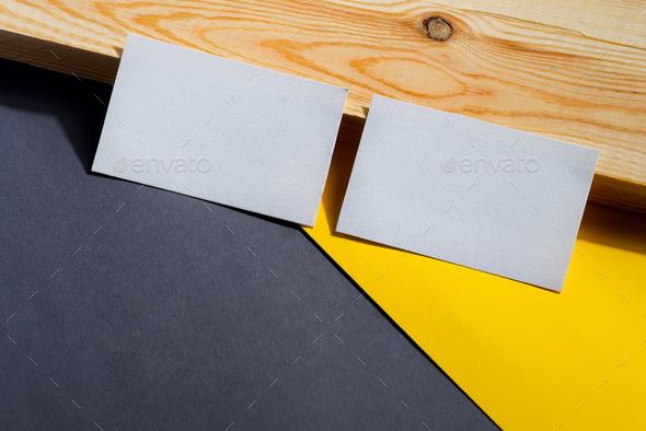 blank business cards on duotone and wooden background, good for texte and logo - Stock Photo - Images