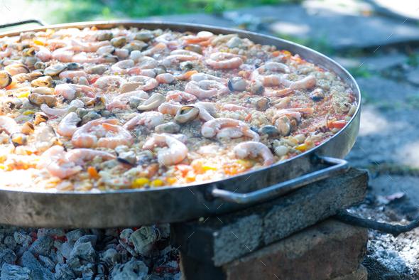 Preparing paella - Stock Photo - Images