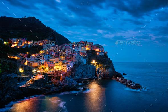 Manarola village n the night, Cinque Terre, Liguria, Italy - Stock Photo - Images