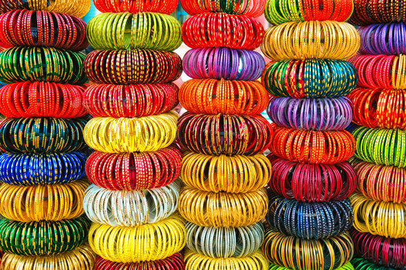 Indian Bangles in a shop - Stock Photo - Images