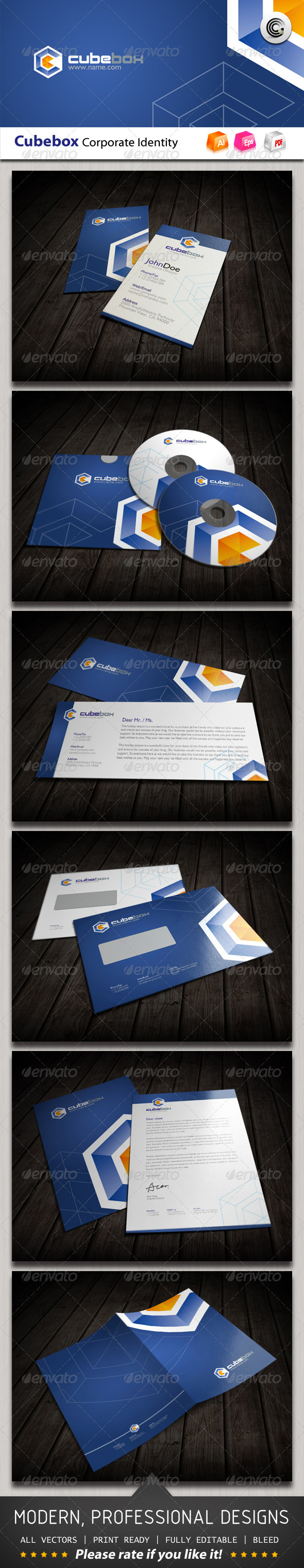 Cube Box Corporate Identity - Stationery Print Templates