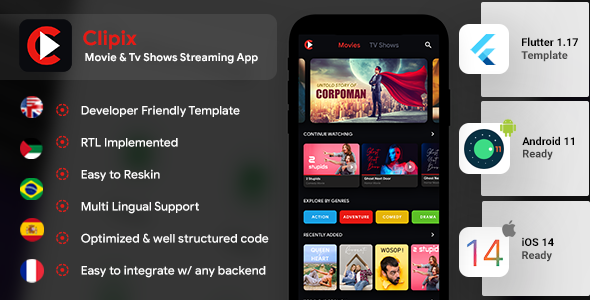 Movie Series Video Streaming Android App Template+ Video Streaming iOS App Template| Flutter| Clipix