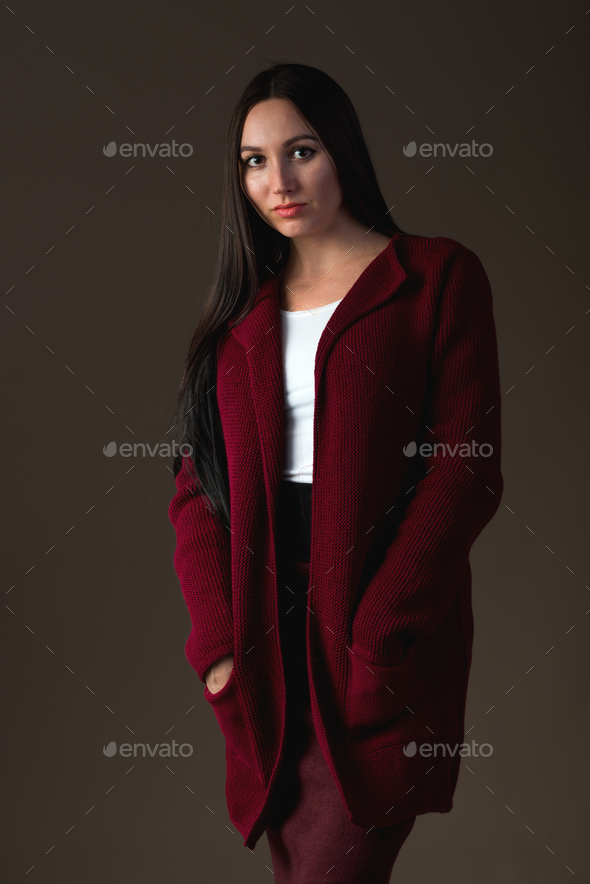 Smiling young girl model posing in stylish clothes - Stock Photo - Images