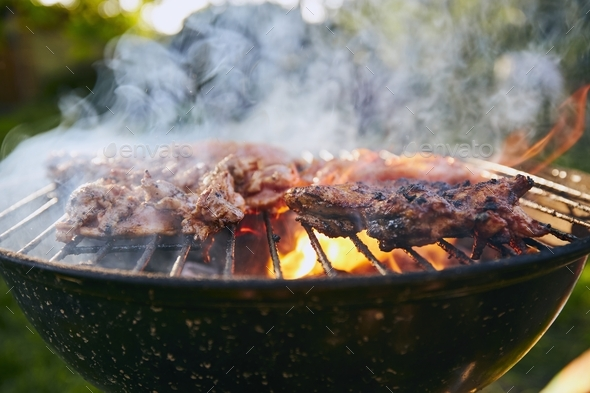 Grilling chicken meat on barbecue - Stock Photo - Images