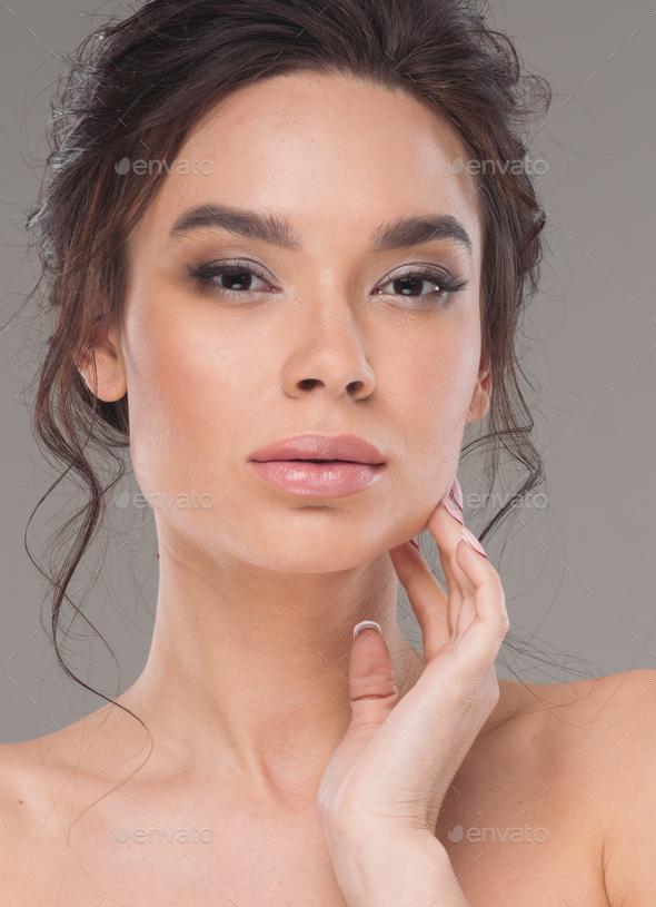 Beautiful asia woman natural make up healthy skin beauty hair - Stock Photo - Images