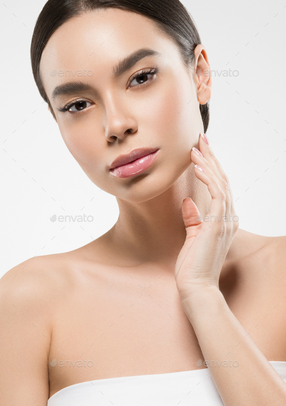 Asian beauty woman clean skin face portrait. Young female model asia natural make up - Stock Photo - Images