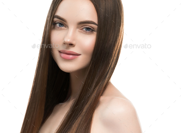 Woman with long smooth hair beautiful hairstyle fashion make up - Stock Photo - Images