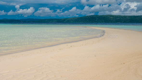 Sandy Bank during Low Tide on Kri Island, Gam in Background, Raja Ampat, Indonesia, West Papua - Stock Photo - Images