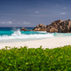 Ocean waves at Petite Anse, La Digue in Seychelles - Tropical and paradise beach. Luxury vacation - PhotoDune Item for Sale