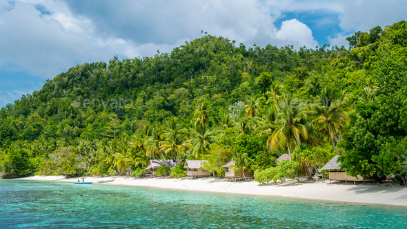 Bamboo Huts on the Beach, Coral Reef of an Homestay Gam Island, West Papuan, Raja Ampat, Indonesia - Stock Photo - Images